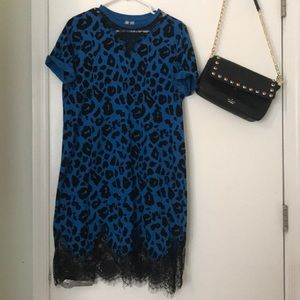 Black and blue animal print dress size 8